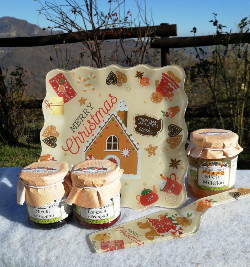 Idea regalo di Natale confetture e miele biologici con vassoio